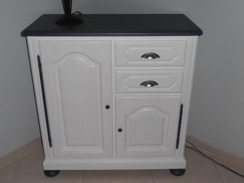 meuble en couleur chene relooke blanc