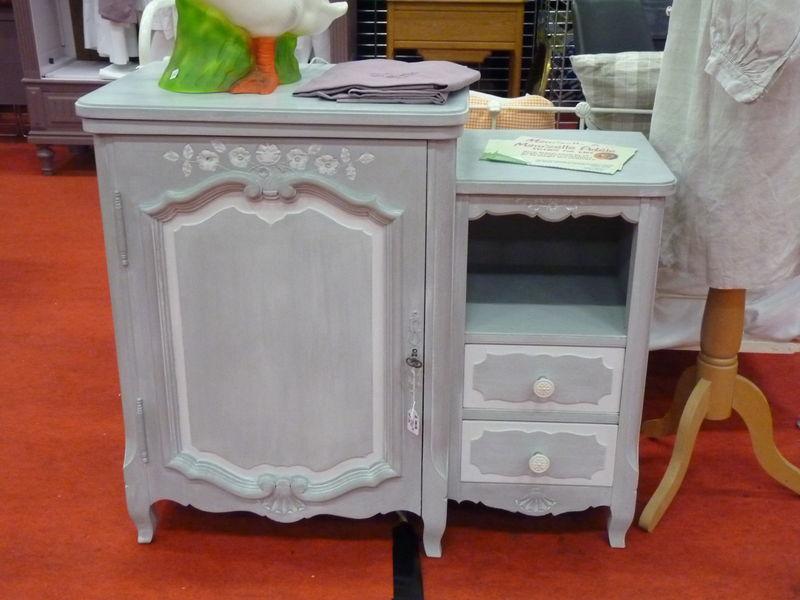 petit meuble gris patine blanc 150 e