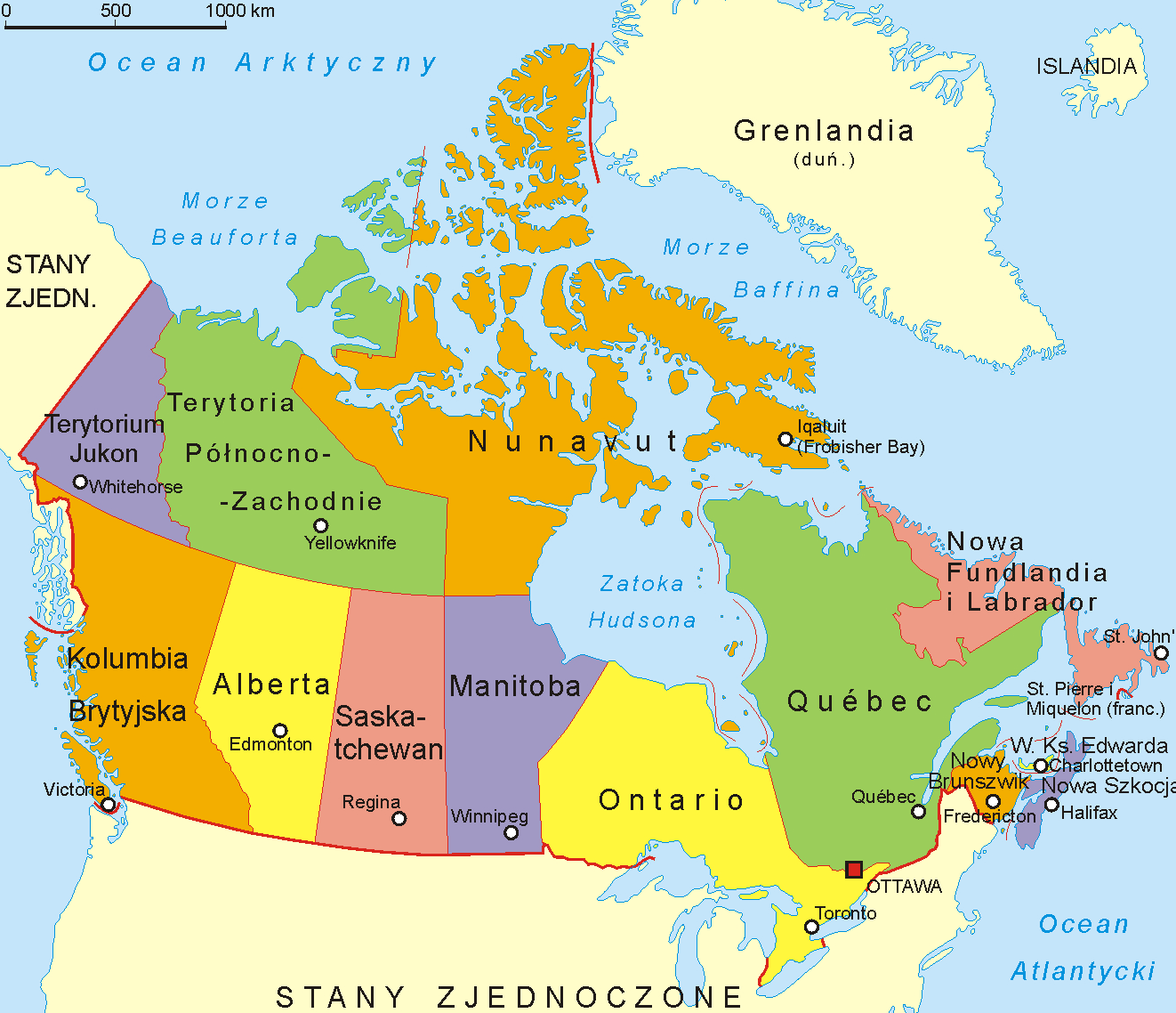 Us And Canada Map With States And Provinces