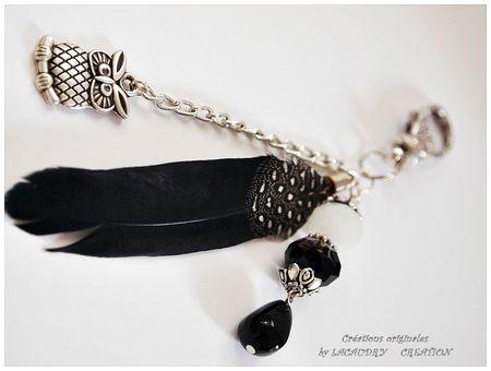 bijoux de sac ma chouette plume noire 2