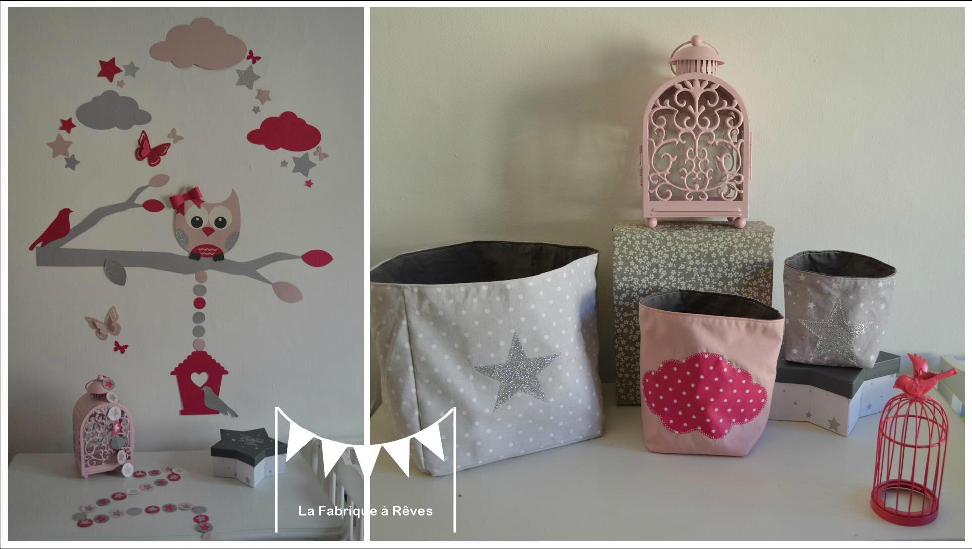 decoration chambre enfant fille nuage hibou chouette etoiles papillon nichoir rose gris fuchsia argent
