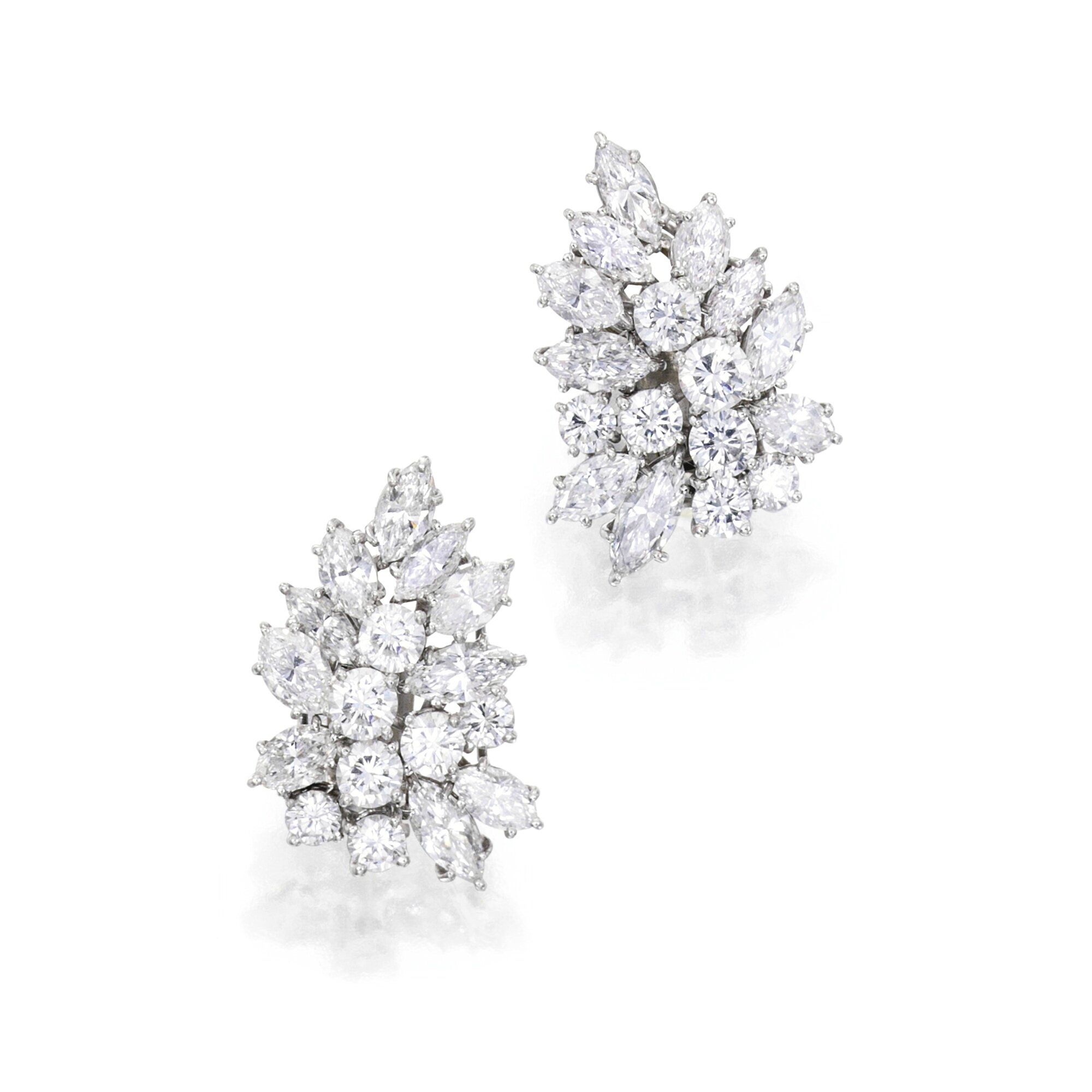 Pair Of Platinum And Diamond Earclips Van Cleef Amp Arpels