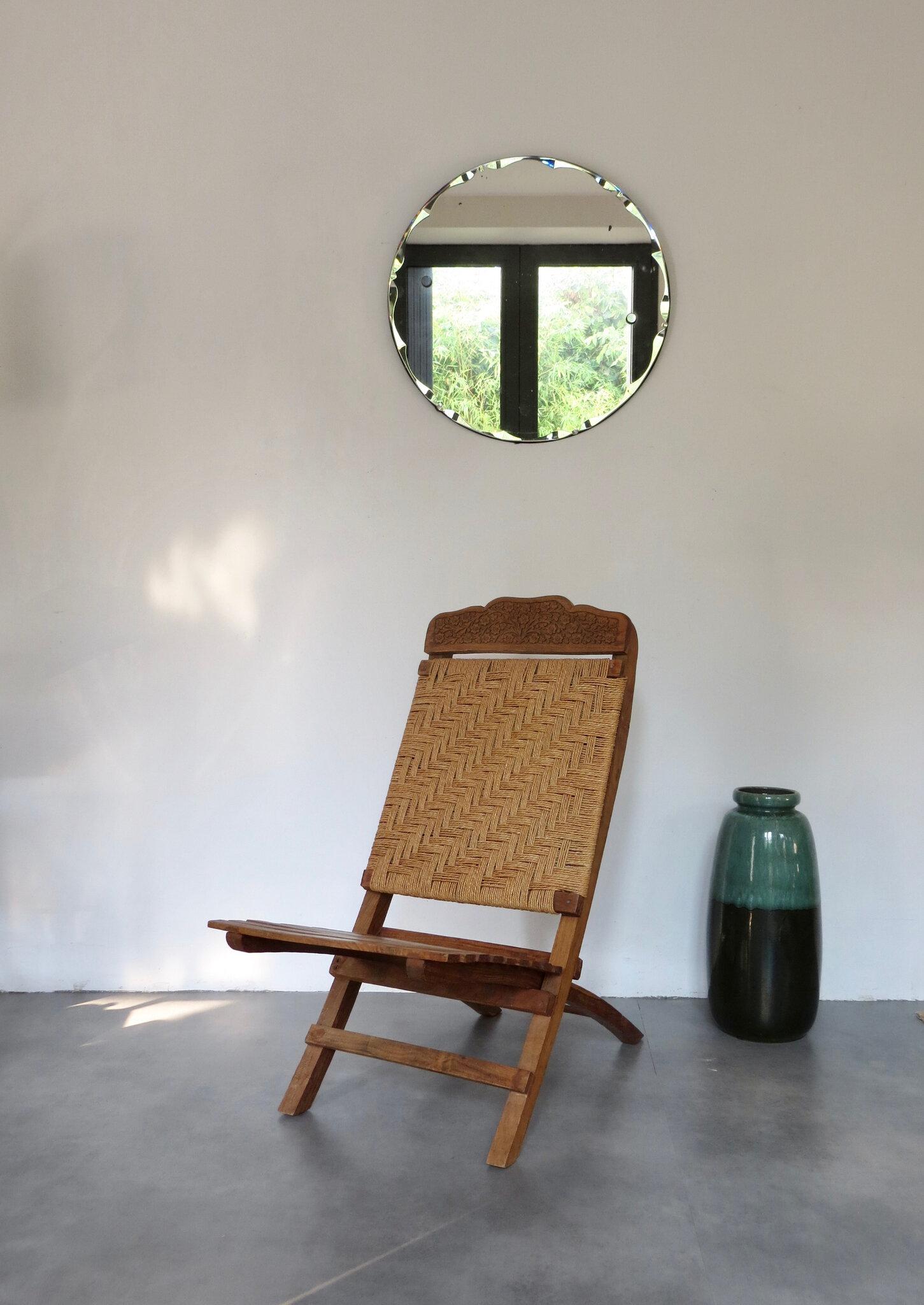 fauteuil bas bois et corde meubles
