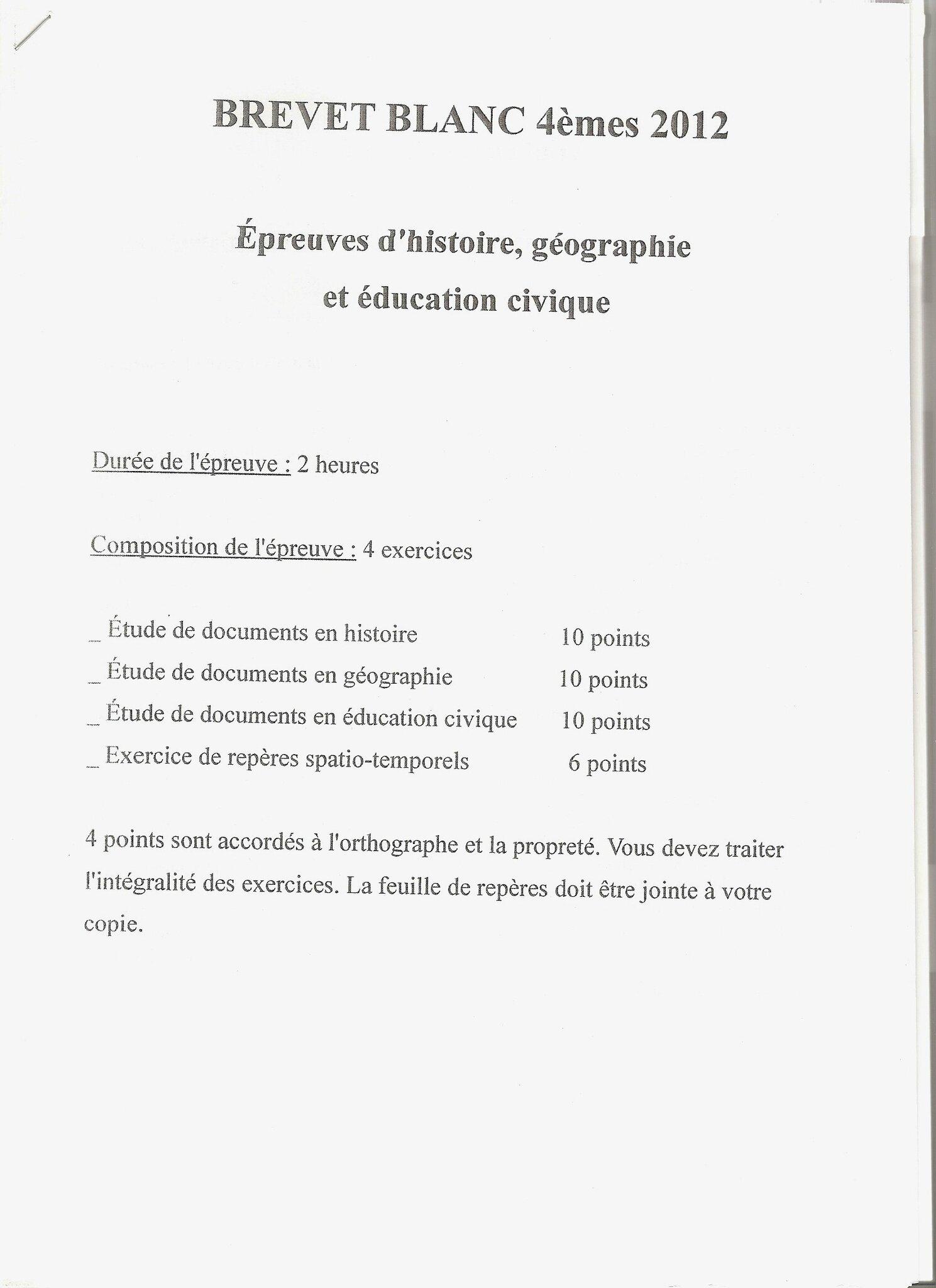Brevet Blanc Histoire Geographie Niveau 4eme