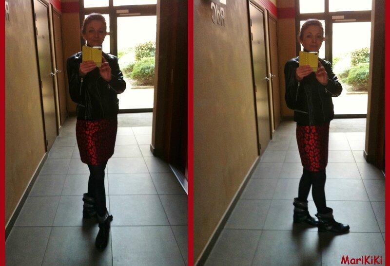 Jupe damassé rouge 01