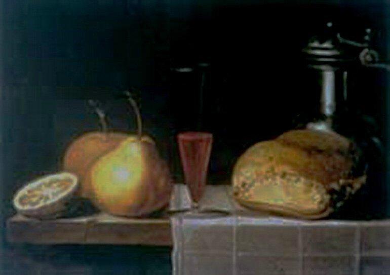 Poires , verre de vin , miche de pain et carafe d'étain , hst , 27,5 x 36,5cm