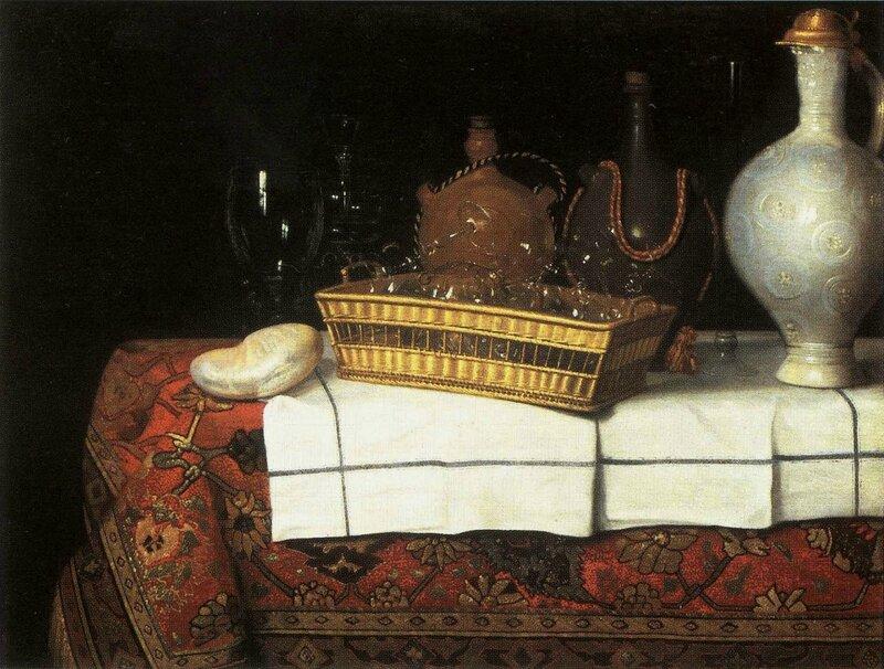 Corbeille de verres , cruchons en grès et nautile , hst,95 x 124cm - collection privée