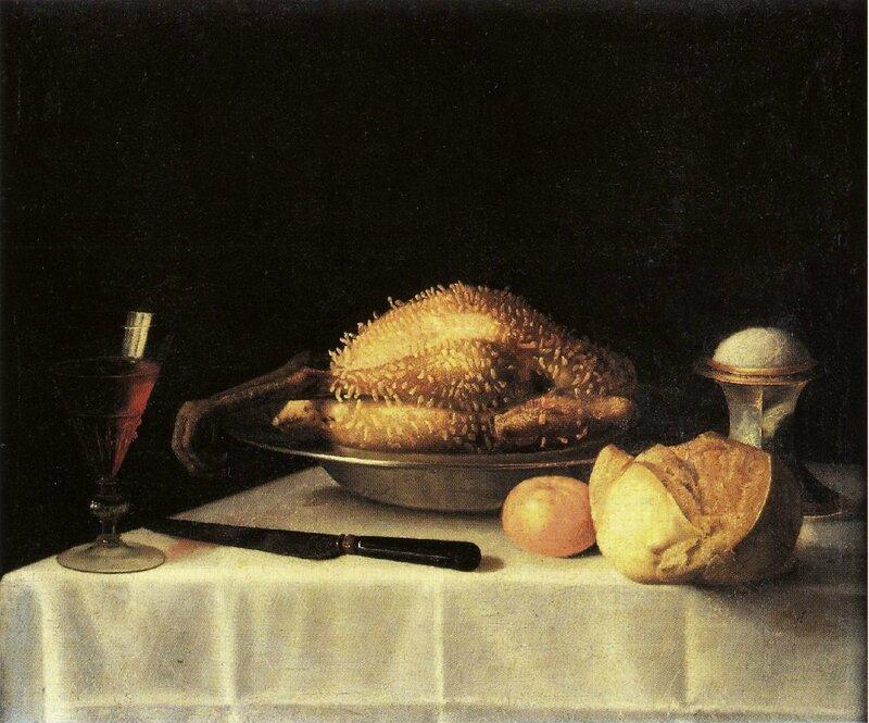 Volaille lardée, salière et verre de vin ,hst , 52 x 64cm , collection particulière