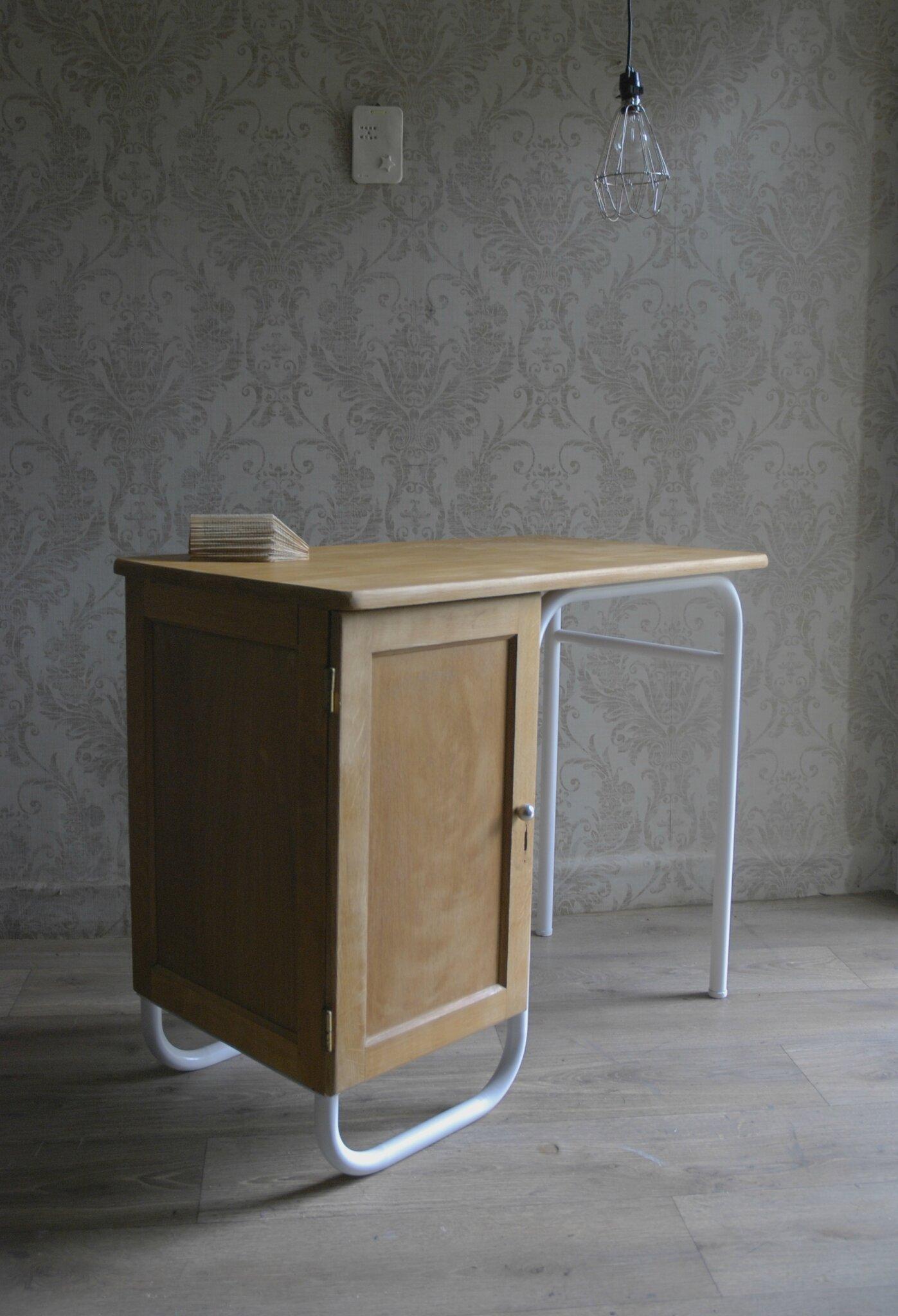 Bureau Matre Dcole Bois Cir Blanc Vendu Atelier