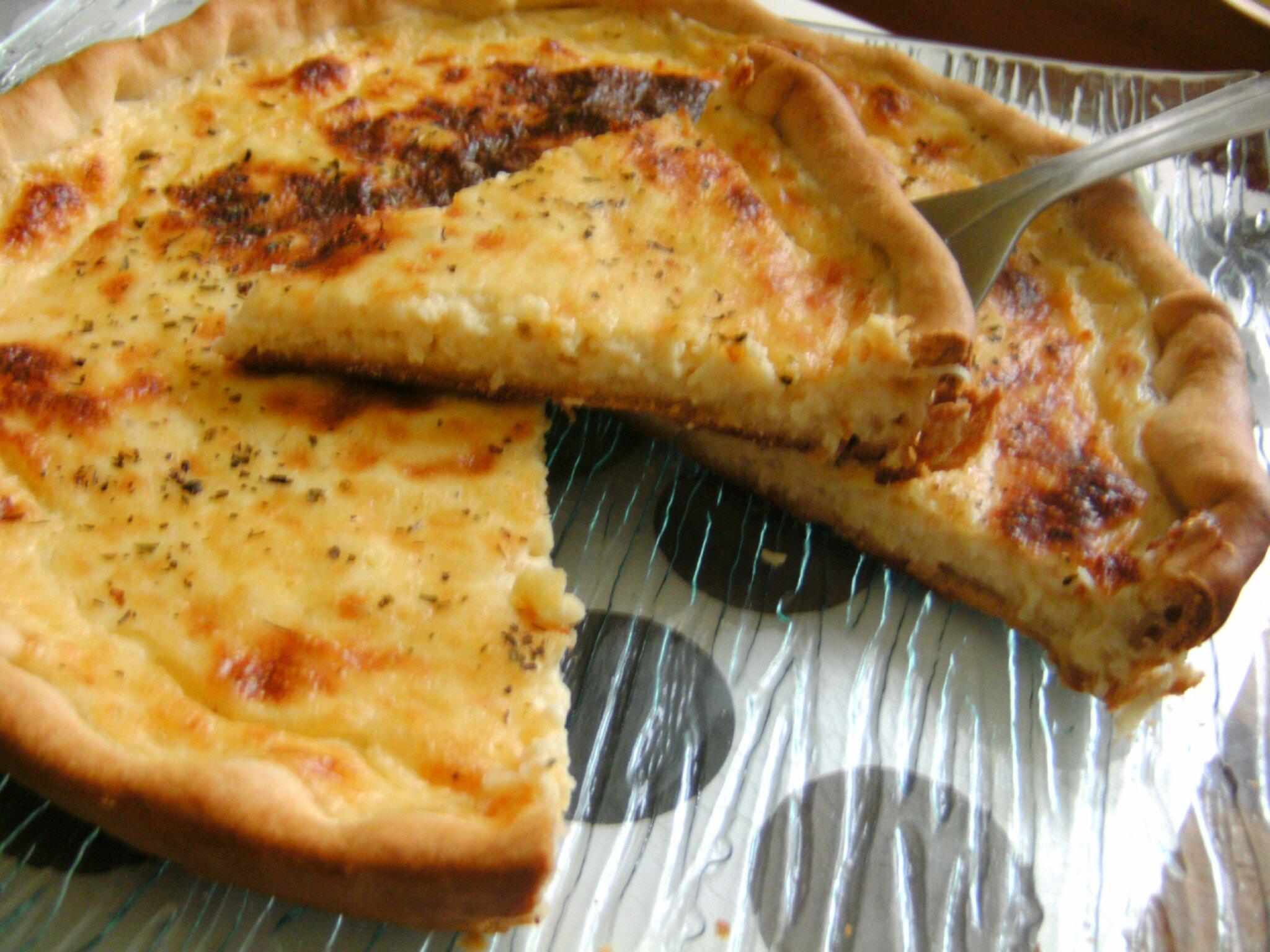 une tarte au fromage bechamel et emmental doux fondant cremeux