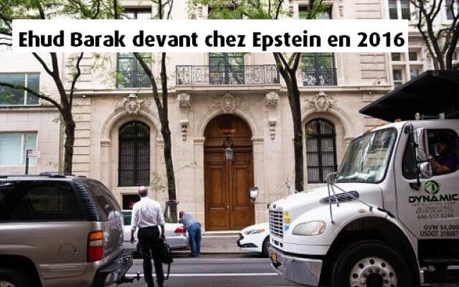Ehud Barak devant chez Epstein en 2016