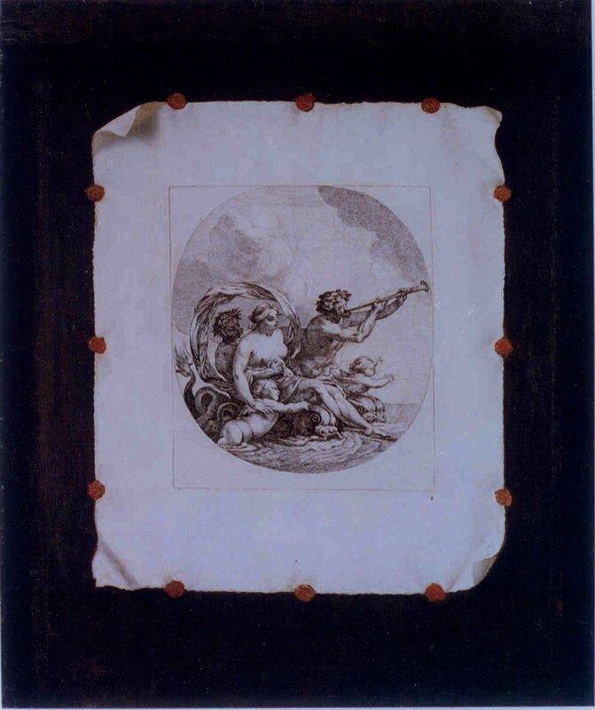 Trompe l'eil à la gavure de michel Dorigny d'après simon Vouet , 65 x 54cm , Wien Kunsthistorisches Museum