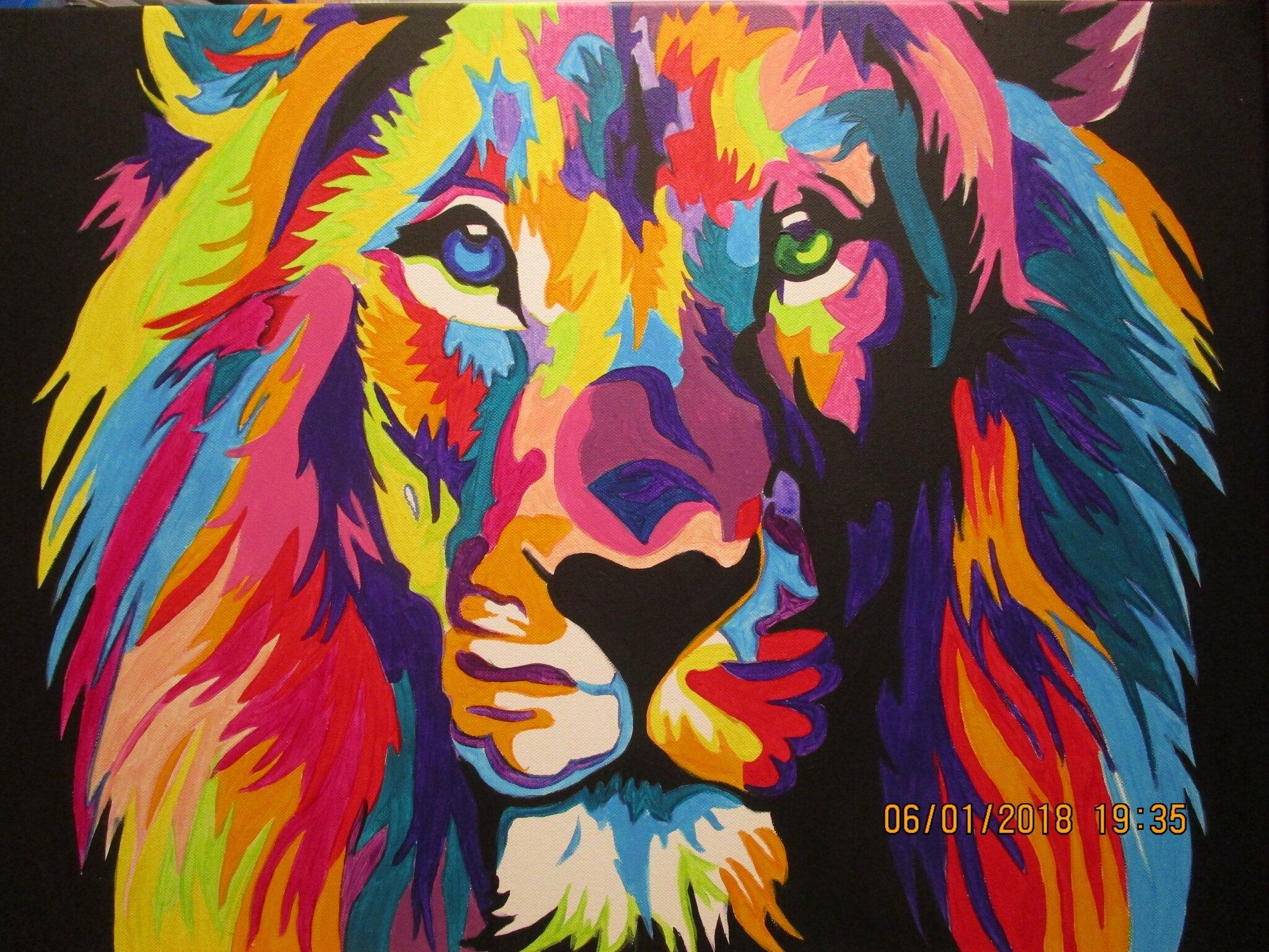 Tete De Lion Pop Art Pas A Pas Domi Dessins Et Peintures