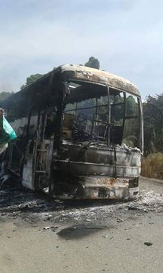 Wreckage of Eco Bus: Attack on Friend Bus, Gateway Bus and Eco-Bus today on the Juba-Nimule Highway, left score of people dead and others feared kidnapped bu gunmen