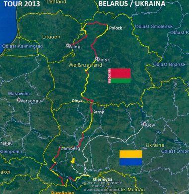 Routenübersicht Vilnius-Polozk-Minsk-Sarny-Lemberg-Chenivtsi Bahn: Ivano Frankies und Kiev