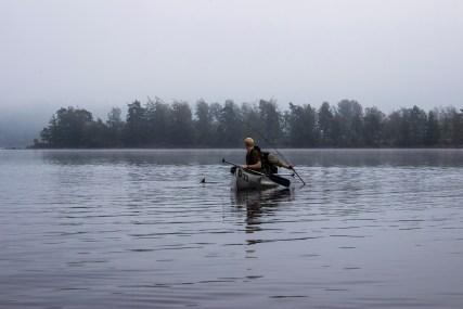 Søren trawlede efter kanoen og der gik ikke andet end en times tid før der var bid.