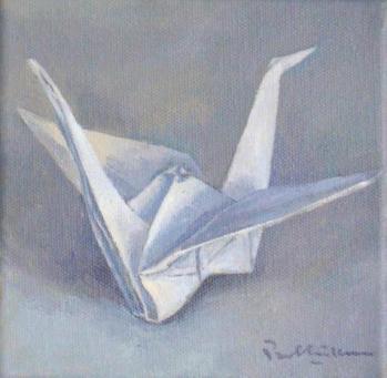 origami crane, acrylic on canvas. 6 x 6 inches.