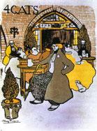 Menu of art café Els quatre Gats, designed by Picasso, 1899.