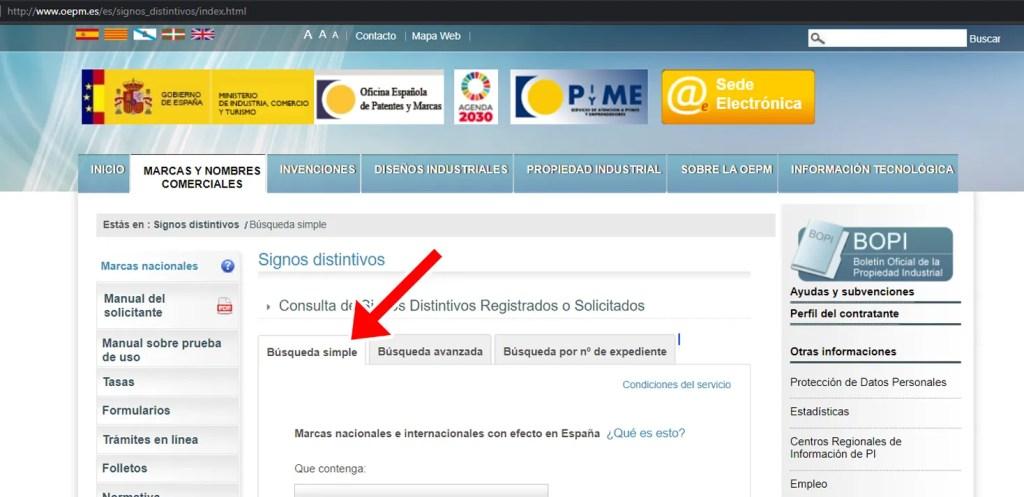 busqueda simple marcas registradas OEPM 02