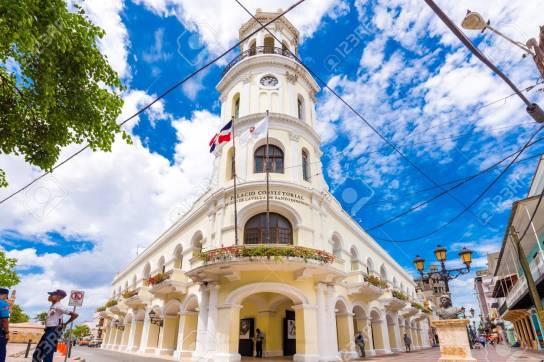 SANTO DOMINGO, DOMINICAN REPUBLIC - AUGUST 8, 2017: View of the building Palacio Consistorial. Copy space for text.