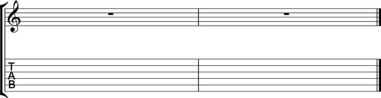 Tablatura y partitura ejemplo en blanco