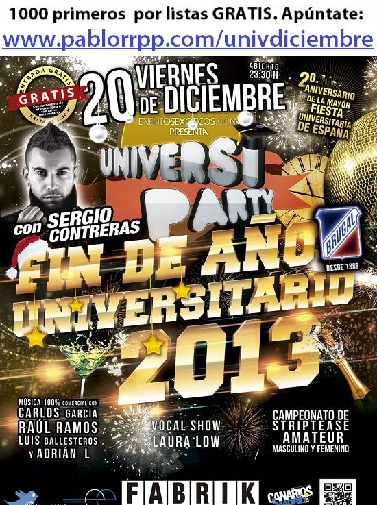 Flyer Universiparty Diciembre en Fabrik, con Sergio Contreras.