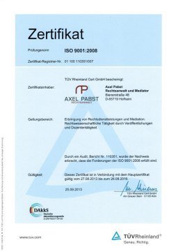 Der TÜV-Rheinland hat das QM-System der Kanzlei Pabst zertifiziert.