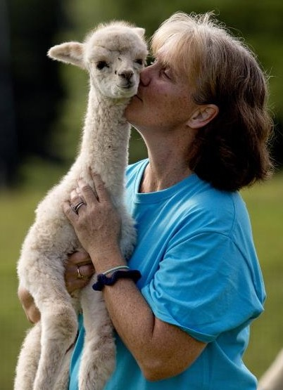 Stacey with cria