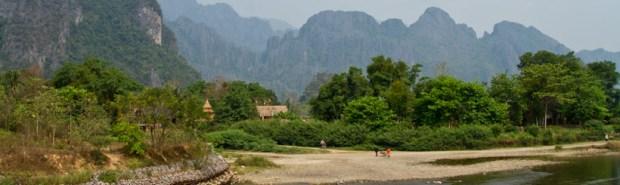 Mountains and Nam Xong river in Vang Vieng
