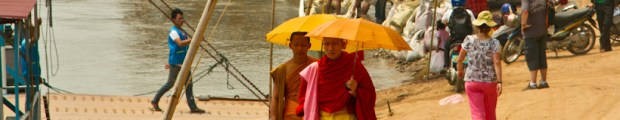 Young monks at bank of the Mekong, Luang Prapang