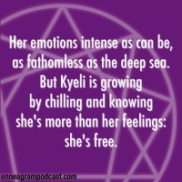 Her emotions intense as can be, As fathomless as the deep sea. But Kyeli is growing By chilling and knowing That she's more than her feelings: she's free.