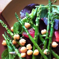 Grilled Asparagus, Balsamic Beet and Grapefruit Mixed Green Salad