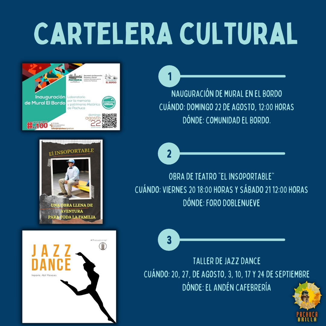 Cartelera Cultural del viernes 20 al domingo 22 de agosto
