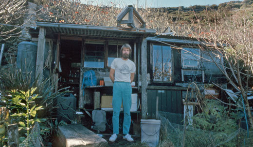 Simon Flynn outside his Crater Cove home, 1987.