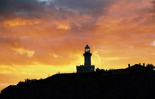 The lighthouse on Cape Byron seen on an early morning walk to the Cape