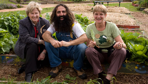 At the Tasmanian Community Garden Network annual conference were (from left) local Greens MP, Christine Milne, telegardener Costa Geogiadis an the Network's Nel Smit from Eat Well Tasmania.