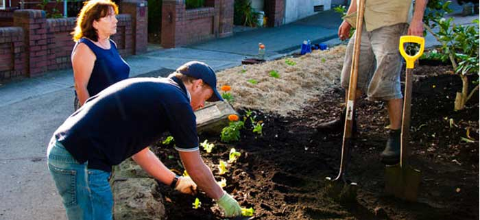 Day 2: Ripping time as gardeners create edible footpath garden