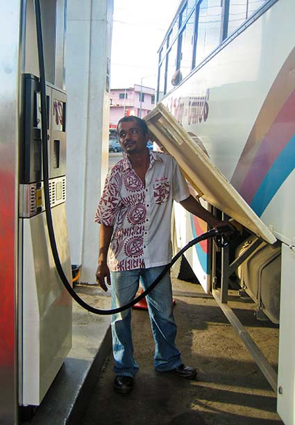 Suva bus driver topping up