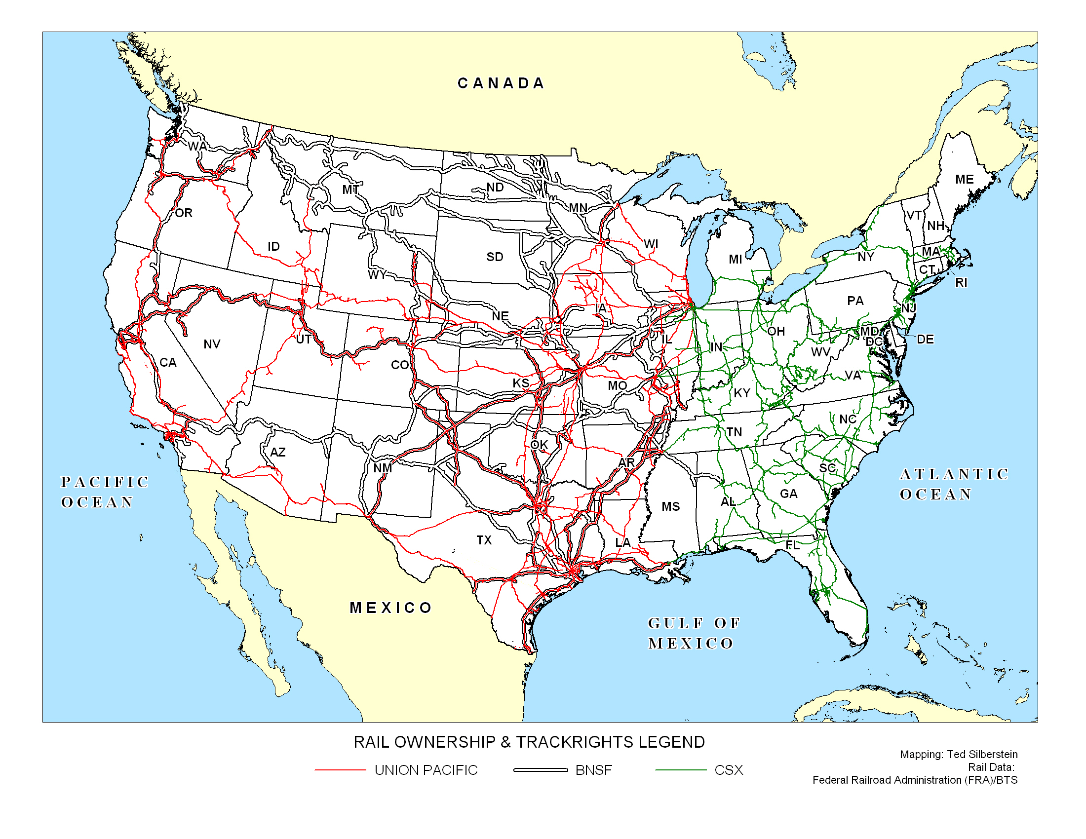 usa rail map for up bnsf csx