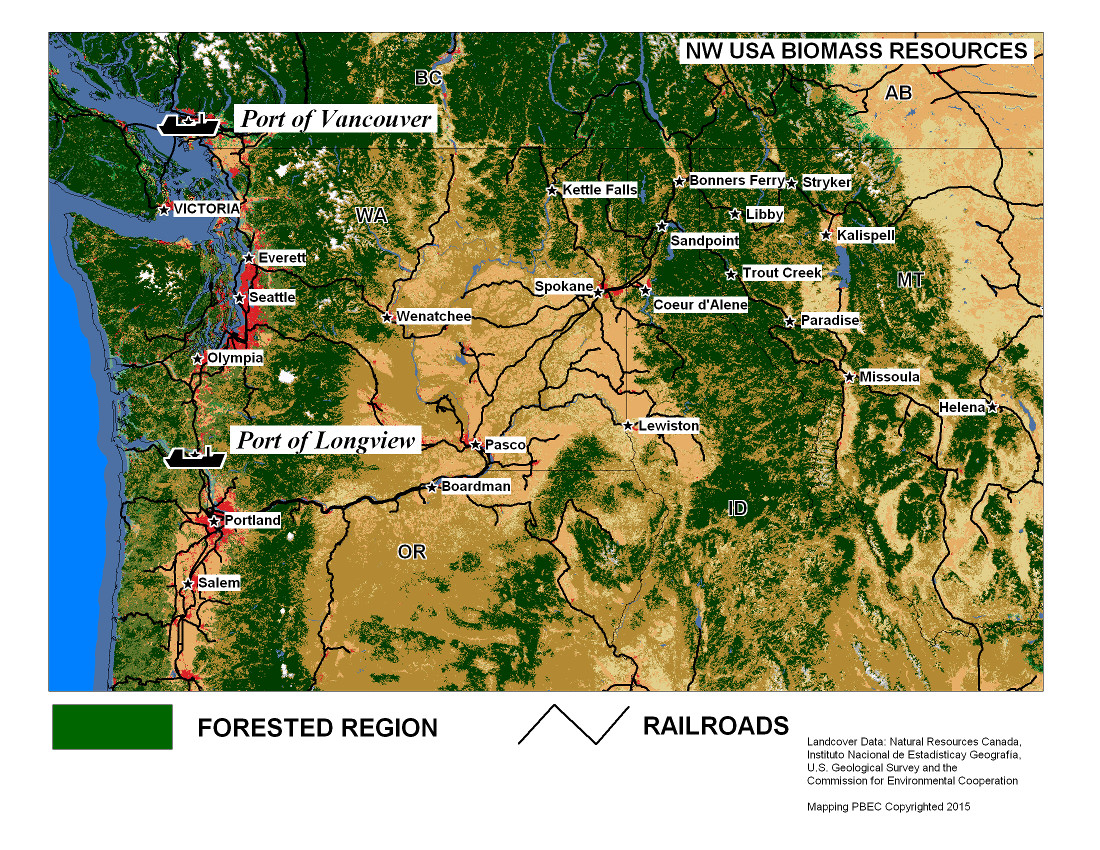 Pacific Northwest Biomass For Sale - Map of pacific northwest usa