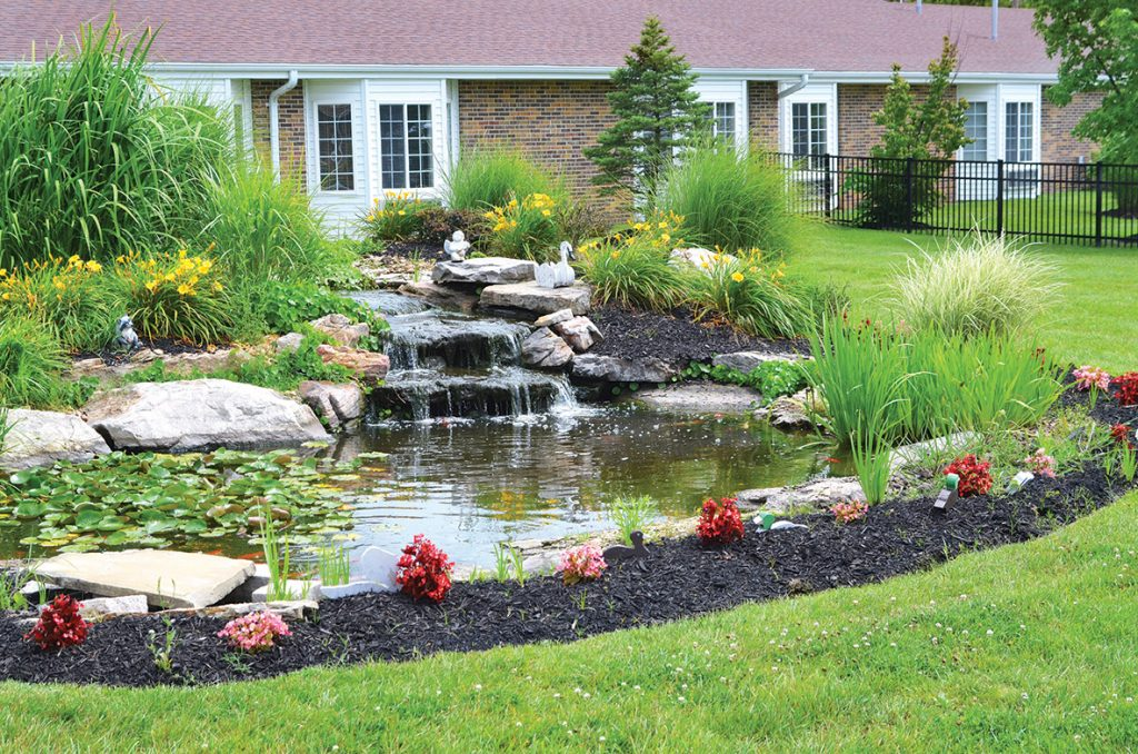 Skilled Resident Care at Pacific Care Center includes lovely water and landscaping