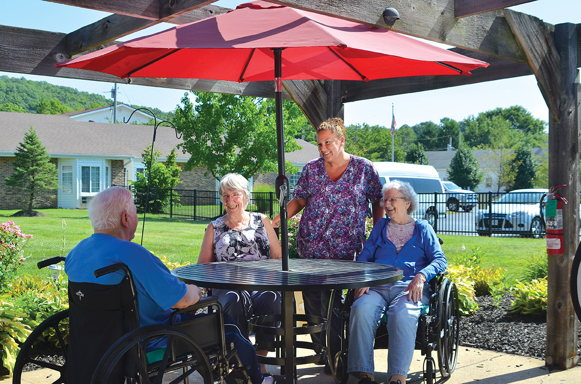 Skilled Resident Care at Pacific Care Center includes enjoying its outdoor patios
