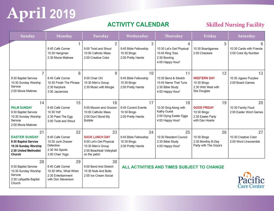 April 2019 Skilled Nursing Facility Events