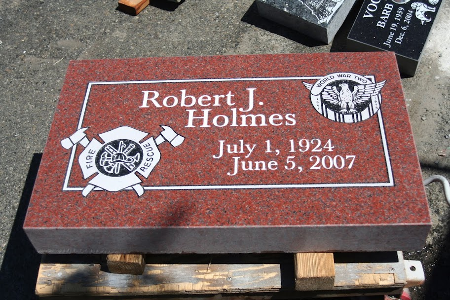Flat Grave Marker In Imperial Red Granite With Custom