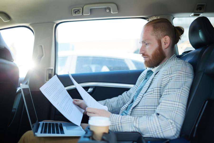Preparing for speech inside of car to avoid speech nerves