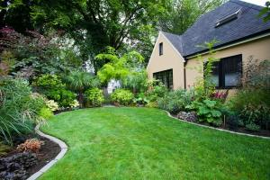 House and Landscaped Yard
