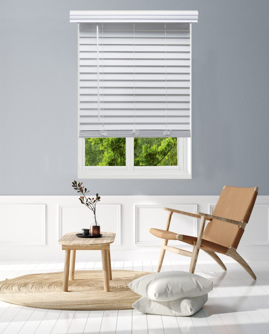 stock image showing two windows with faux wood blinds
