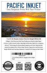 "Pacific Inkjet 11x14"" Cotton Fine Art Bright White Matte Inkjet Paper"