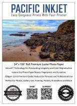 "Pacific Inkjet 24"" x 100' Premium Luster Inkjet Paper"
