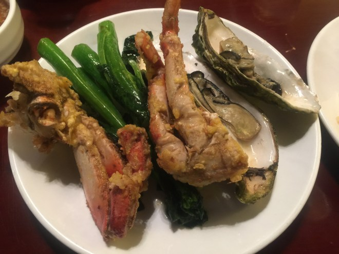 Crab, chinese cabbage and clam